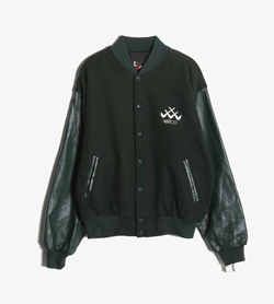 JUN JACKETS -  코튼 가죽 스타디움 자켓   Made In Usa  Man L / Color - Green