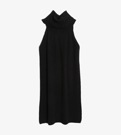 STEFANEL - 스테파넬 울 아크릴 터틀넥 원피스   Made In Italy  Women M / Color - Black