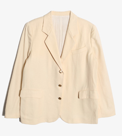 BURBERRY - 버버리 울 노치드카라 골드버튼 자켓   Made In England  Women L / Color - Beige