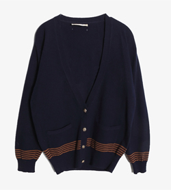 GEELONG -  울 브이넥 가디건   Made In Scotland  Women XS / Color - Navy