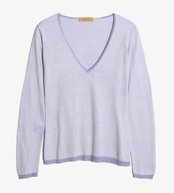 PAUL STUART - 폴 스튜어트 코튼 브이넥 니트   Made In Italy  Women M / Color - Purple