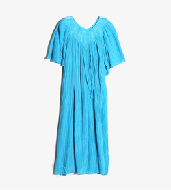 JPN - 빈티지 코튼 레이온 원피스   Made In Greece  Women L / Color - Skyblue