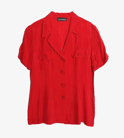 TOP SEASON -  코튼 폴리 오픈카라 셔츠   Made In Usa  Women M / Color - Red