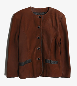 MAINA WHITE DESIGNS - 빈티지 가죽 카라리스 자켓   Women M / Color - Brown