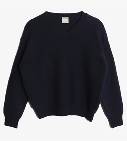 UNITED COLORS OF BENETTON - 베네통 울 아크릴 브이넥 니트   Made In Italy  Women L / Color - Navy