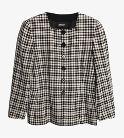 AKRIS - 아크리스 울 스퀘어넥 체크 자켓   Made In Switzerland  Women L / Color - Check