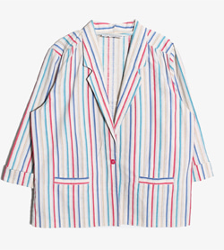 ALFRED DUNNER -  코튼 스트라이프 자켓   Made In Usa  Women L / Color - Stripe