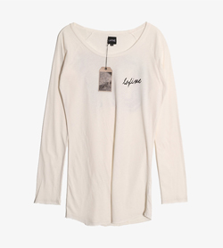 LAFINE - 라파인 코튼 티셔츠 (새 제품)  Made In Usa  Women S / Color - Ivory